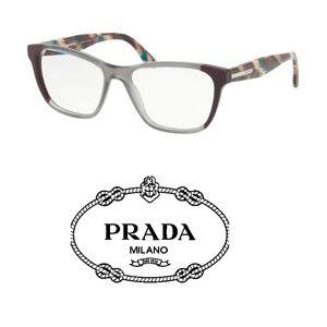 PRADA 04TV Eyeglasses Plum/Grey 100 Authentic
